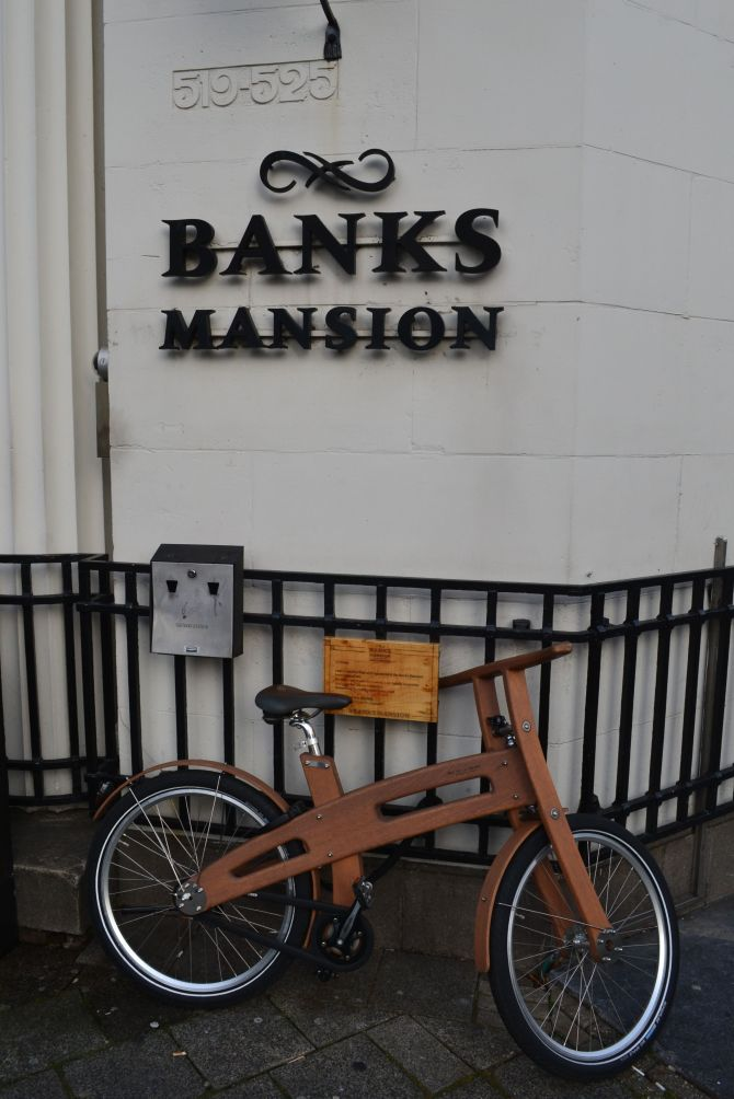 Wooden bike at Banks Mansion hotel