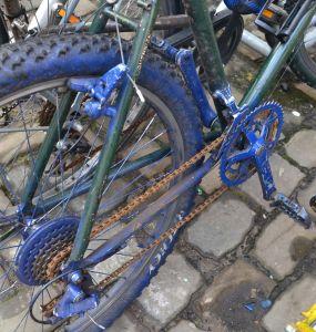 ©Barry Sandland/TIMB - Bike painted green and blue