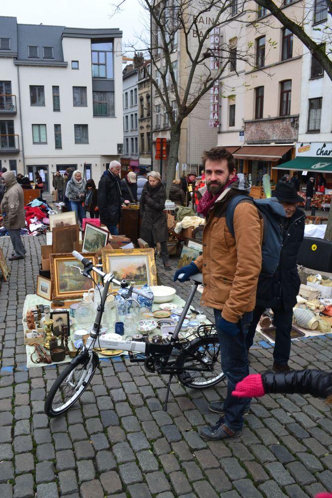 ©Barry Sandland/TIMB - Foldable bike and rider at Jeu de Balles, Brussels, Belgium