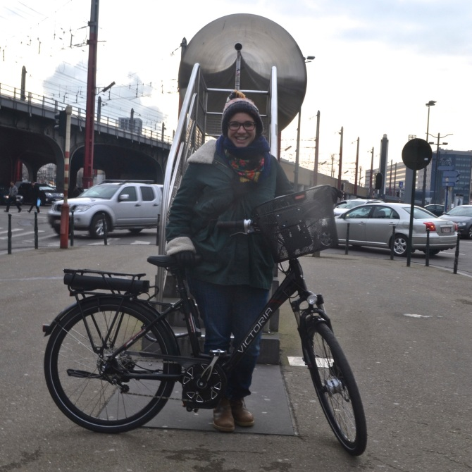 ©Barry Sandland/TIMB - First time cyclist photographered at horn near Gare Midi