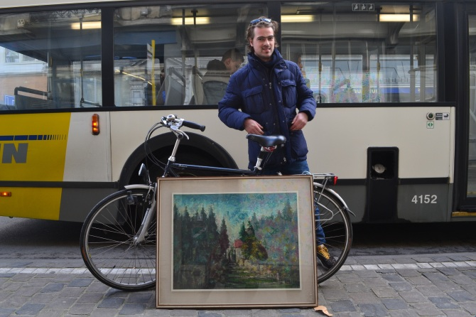 ©Barry Sandland/TIMB - Man with painting and bike