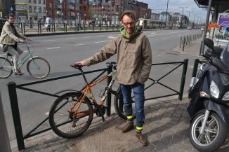 ©Barry Sandland/TIMB - Man with Orbea bike in Brussels