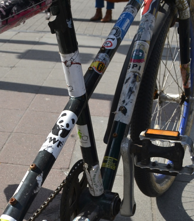 ©Barry Sandland/TIMB - Bumper stickers and the bicycle frame
