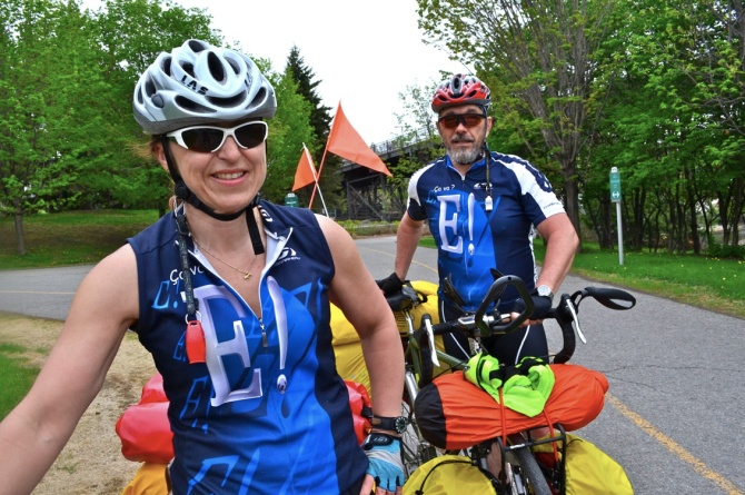Barry Sandland/TIMB - Cyclotourists preparing for cross-Canada ride