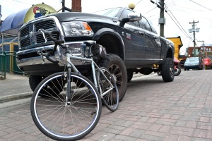 @Barry Sandland/TIMB - Bicycle against a pickup truck in Newfoundland