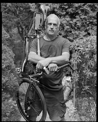 @Michael Basham - Large format phtograph of man carrying his bicycle