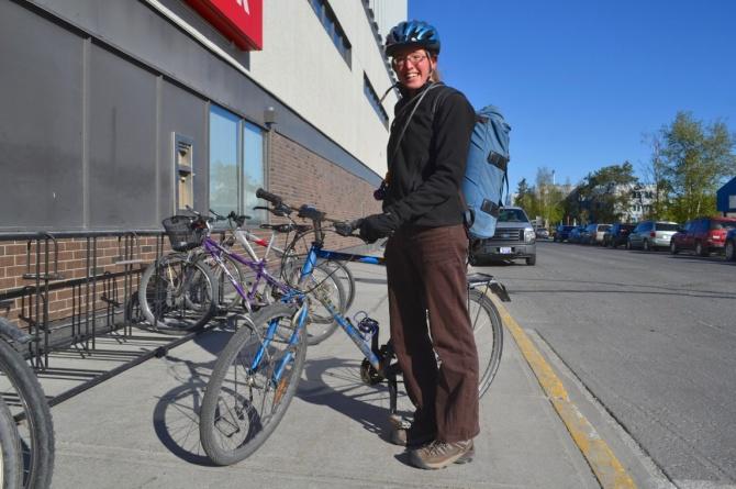 ©TIMB - Rider with her Raleigh bike in Yellowknife, Northwest Territiroes, Canada