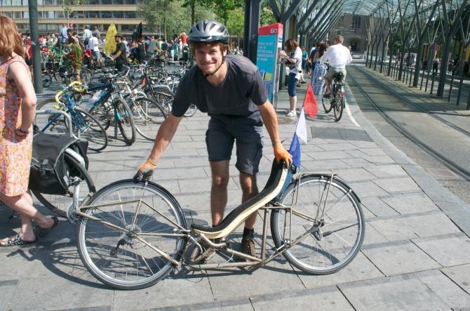 ©Barry Sandland/TIMB - Radical recliner bike wihere legs  both pedal and steer the bike