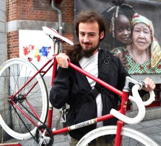 ©Barry Sandland/TIMB - Man with fixie Flandria bike in Brussels, Belgium
