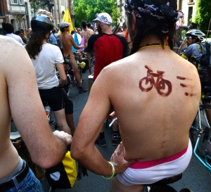©Barry Sandland/TIMB - Rider in his underwear at the Velorution Gigantic Bike Parade in Brussels