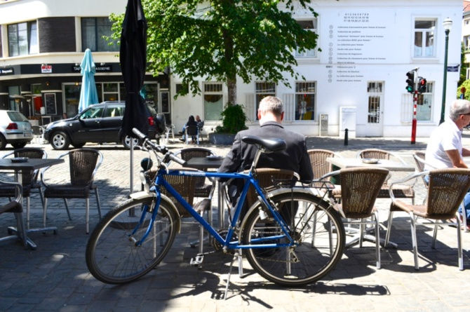 ©Barry Sandland/TIMB - Man with his bike on a patio in Europoe
