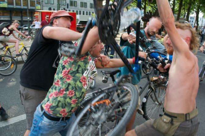 ©Barry Sandland/TIMB - Driver attacking cyclist at the bicycle parade