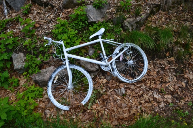 ©Barry Sandland/TIMB - Ghost bike at the location where a cyclist was killed