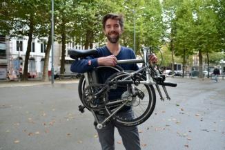 ©Barry Sandland/TIMB - Ahooga bike co-founder with the folding bike