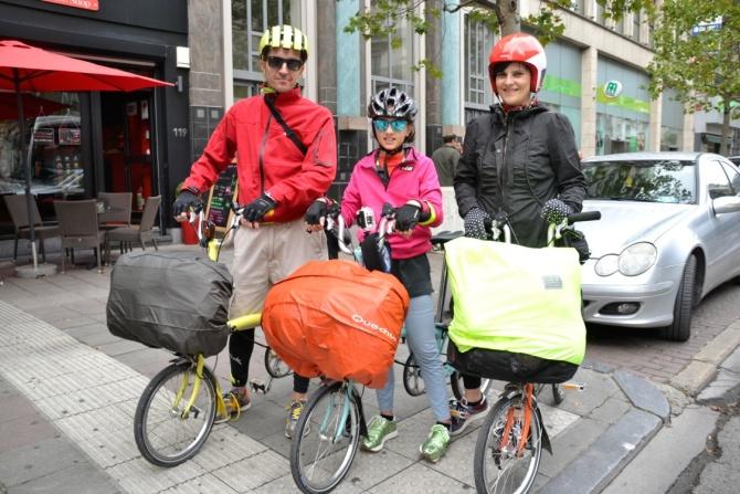 ©Barry Sandland/TIMB - Trio riding foldable bikes on a bike tour in Belgium