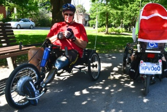 ©Barry Sandland/TIMB - Two recumbent bikes for para cyclists, along with the Human Powered Vehicle license plate