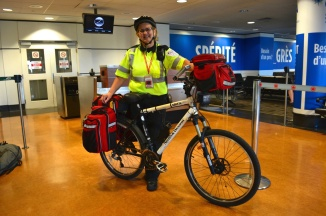 ©Barry Sandland/TIMB - Emergency responder on a bicycle at Montreal International airport