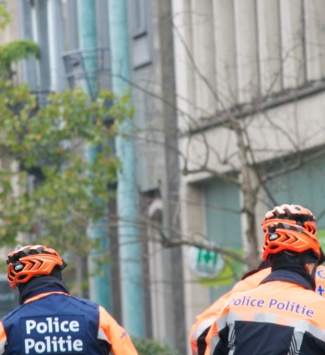 ©Barry Sandland/TIMB - Bike riding police are helmeted in Brussels