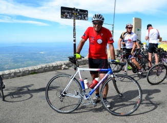 ©Barry Sandland/TIMB - Rider on Scorpion bike at the top of Mont Ventoux