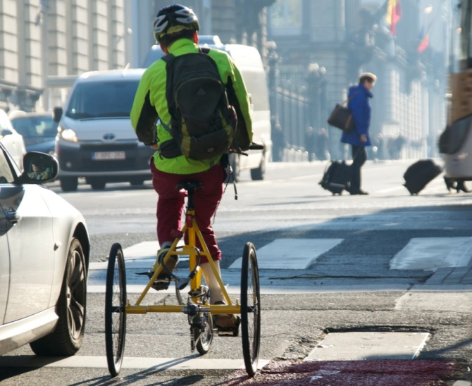 ©Barry Sandland/TIMB - Handicapped cyclist negotiating bike paths in Brussels