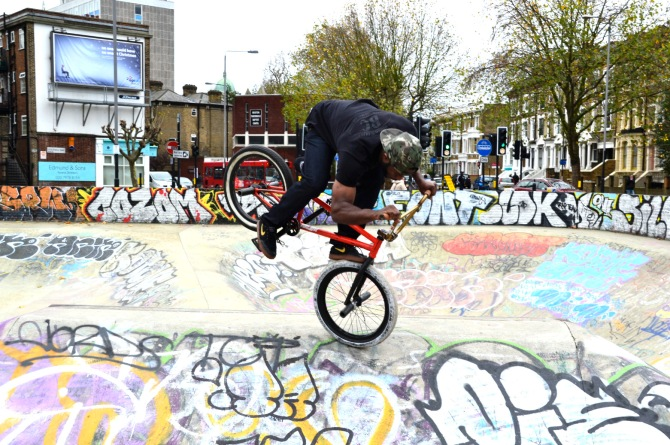 Barry Sandland/TIMB - Brixton coop member showing some skills at the skatepark