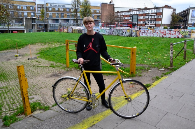 ©Barry Sandland/IMB- Brixton Cycles cooperative member with her bike