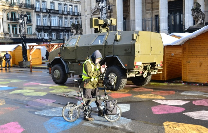 ©Barry Sandland/TIMB - A slow rider from France documenting the military presence in Brussels
