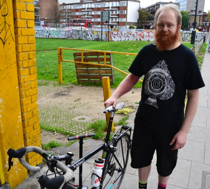 ©Barry Sandland/TIMB - Brixton Cycles coop member explaining his track adventures