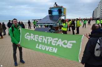 ©Barry Sandland/TIMB - Greenpeace at the Climate March with their solar powered bicycle