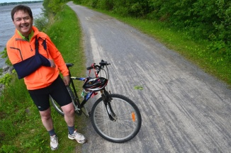 ©Barry Sandland/TIMB - Cyclist with paralysed arm on bike path in Ottawa