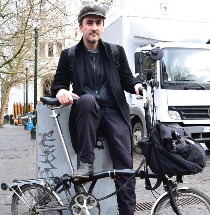 ©Barry Sandland/TIMB - Man w Brompton folding bike