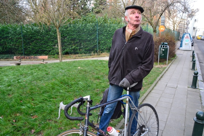 ©Barry Sandland/TIMB - Man w his Raleigh bike in Brussels