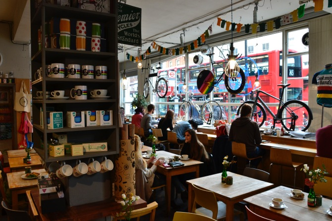 Barry Sandland/TIMB - Interior of Look mum ni hands cycling café