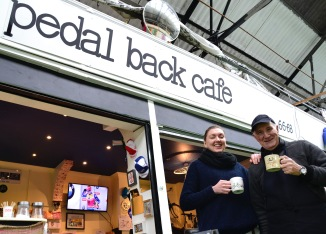 ©Barry Sandland/TIMB - Owners of the Pedal Back Cafe at their establishment