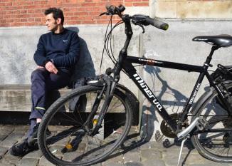 Barry Sandland/TIMB - Man w his Minerva bicycle