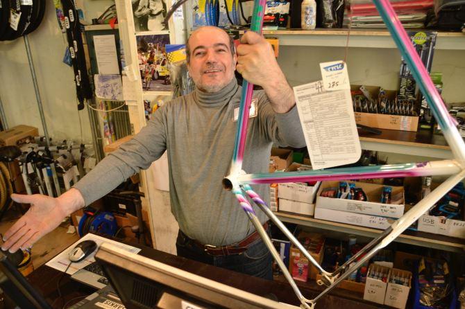 ©Barry Sandland/TIMB - Cyclo store bike sale w a vintage Danicelli frame