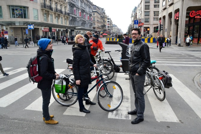 ©Barry Sandland/TIMB - GRACQ and Fietsersbond advocates meet on a street in Brussels