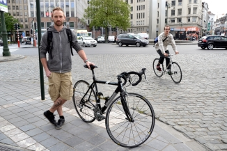 ©Barry Sandland/TIMB - Trainee bicycle mechanic w his Orbea bicycle in Brussels