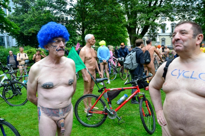 ©Barry Sandland/TIMB - Tattoos and piercings on the World Naked Bike Ride in Brussels, Belgium