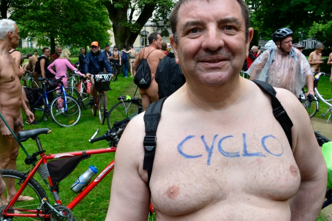 ©Barry Sandland/TIMB - One of the riders at the World Naked Bike Ride in Brussels, Belgium