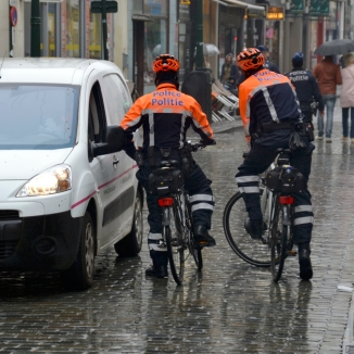 ©Barry Sandland/TIMB - Bicycle police reinforcing the pedestrian area in Brussels city centre