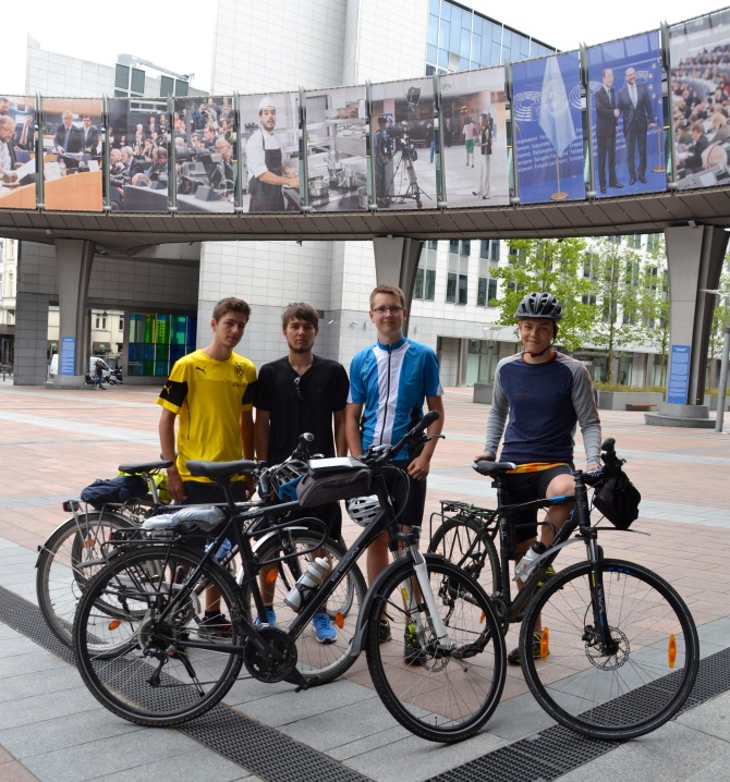 ©Barry Sandland/TIMB - Four teenage cyclists from Dortmund Germany at the EU Parliament buildings