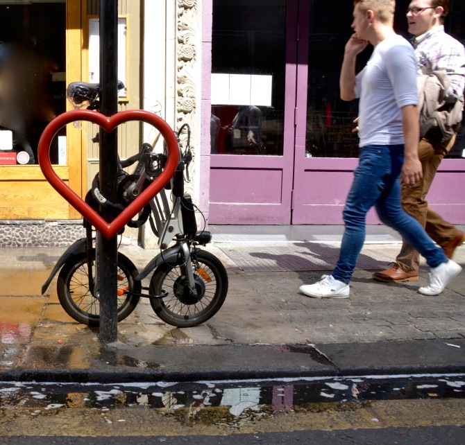 ©Barry Sandland/TIMB - Heart shaped bike stand in Soho, London
