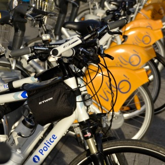 ©Barry Sandland/TIMB - p[olice bikes rest next to the Brussels Villo bikes