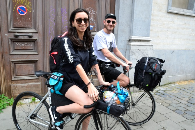 ©Barry Sandland/TIMB - Two bicycle messengers from Australia in Brussels en route to Paris for the Cycle Messenger World Championships