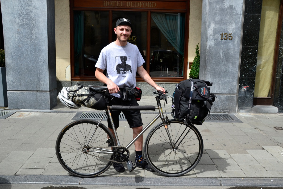 ©Barry Sandland/TIMB - Australian fixed gear messenger and his bike en route to Paris