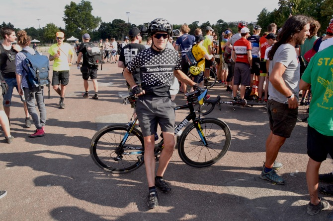Barry Sandland/TIMB - Filmmaker Lucas Brunelle at the Cycle Messenger World Championships in Paris