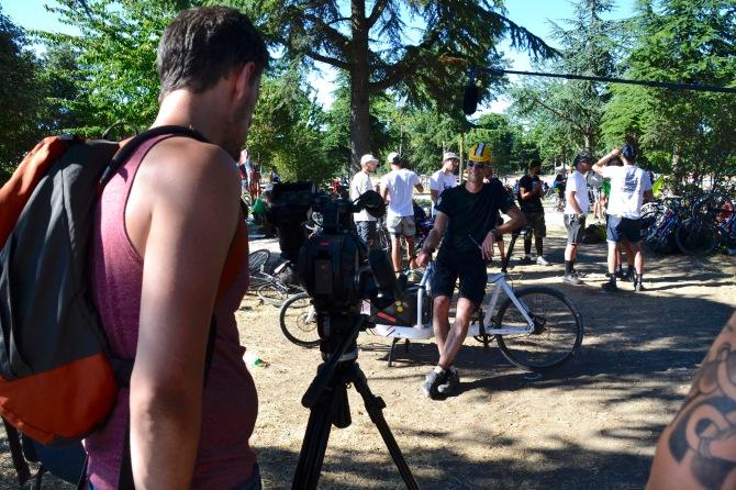©Barry Sandland/TIMB - Harry of Bullitt bikes in a post-race interview