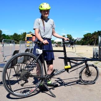 ©Barry Sandland/TIMB - Bike courier in Paris w her Omnium cargo bike