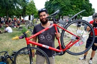 ©Barry Sandland/TIMB - Madrid messenger w his bike at the Cycle Messenger World Championships